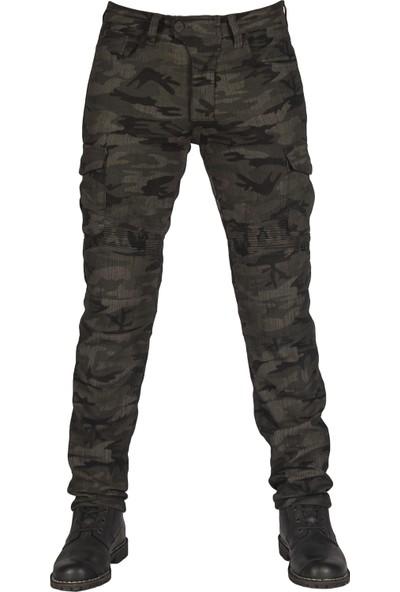 The Biker Jeans All Road Army Khaki Camo Flexi Korumalı Motosiklet Kot Pantolonu