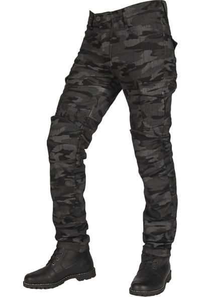 The Biker Jeans All Road Antrasit Camo Flexi Korumalı Motosiklet Kot Pantolonu