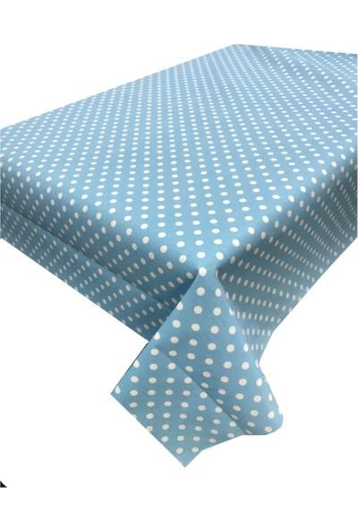 Derinteks Mint Zemin Beyaz Puantiyeli Dertsiz Masa Örtüsü 100 x 100 cm