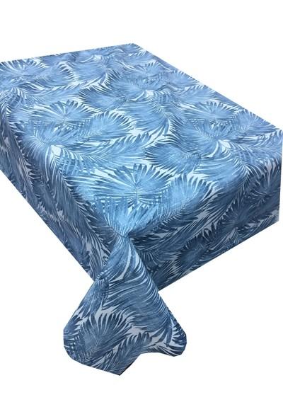 Derinteks Mavi Tropikal Yapraklar Desenli Dertsiz Masa Örtüsü 100 x 100 cm
