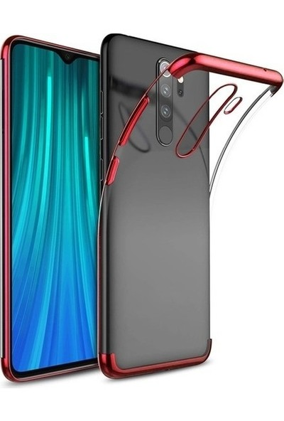 Fujimax Xiaomi Redmi Note 8 Pro Roley Kenarları Renklendirilmiş ve Şeffaf Kılıf + 9H Hayalet Tam Kaplayan Ekran Koruyucu