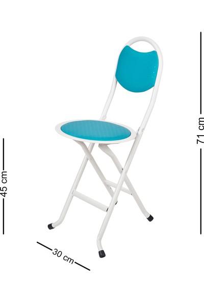 Hastunç Katlanır Sandalye (Beyaz-Turkuaz)
