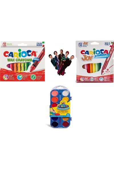 Carioca Elleri Kirletmeyen Yıkanabilir 12'li Pastel Boya + Sulu Boya + Keçeli Kalemi 3'lü Set + Özel Kesim Ayraç