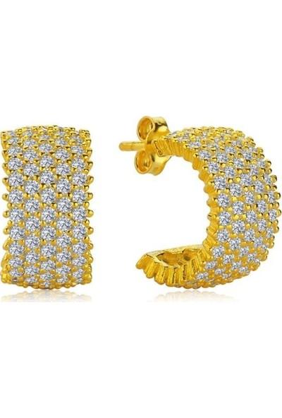 Candie Silver Altın Sarısı Beş Sıra Tamtur Gümüş Kadın Küpe