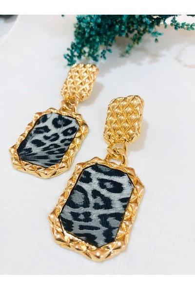 Sarmaşık Gold Leopar Deri Detaylı Kadın Zara Model Küpe