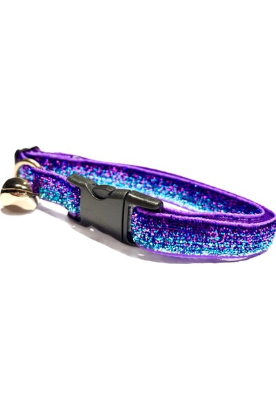 Pacopet Işıltılı Rengarenk, Zilli Kedi Boyun Tasması - Mor-Mavi