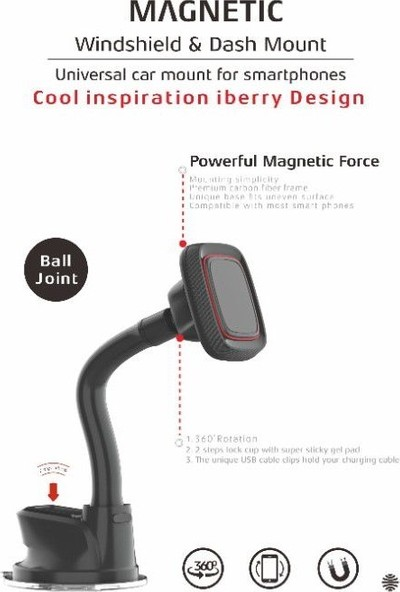 iBerry TSL-100 Manyetik Araç için Telefon Tutucu