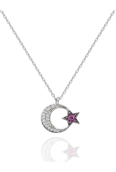 Brs Silver 925 Ayar Ay Yıldız Motifi Gümüş Kolye