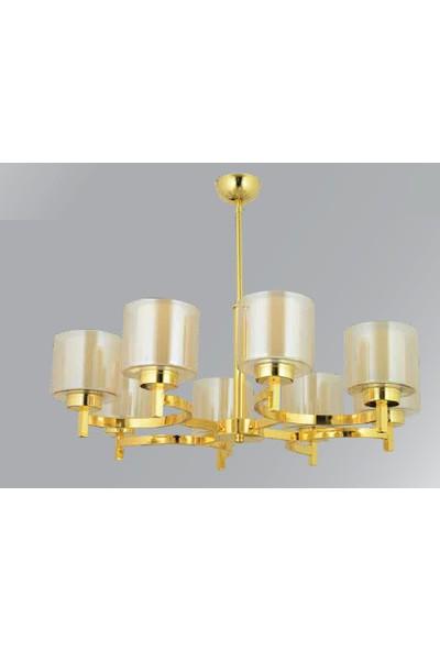 Giveka Modern Dekoratif Salon Oturma Odası Yatak Odası Altın Renk 6'lı Sarkıt Avize
