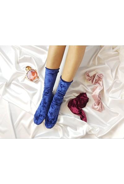 Shock Shocks Kadın Bordo Mavi Krem Renklerde 3'lü Kadife Çorap