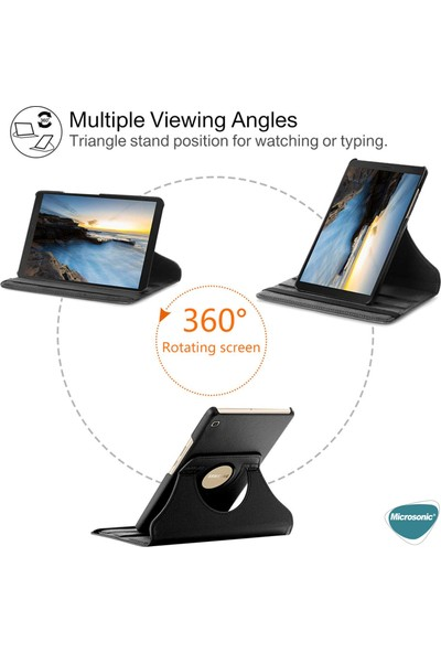 Wowlett Samsung Galaxy Tab A7 SM-T500 Kılıf Dönerli Standlı Suni Deri Kapaklı Kılıf