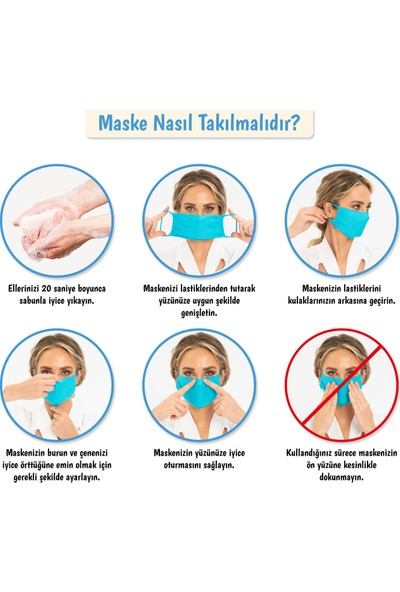 Superior Masqe 2 Katlı Cepli Yıkanabilir Antibakteriyel Maske 3 Adet Kırmızı