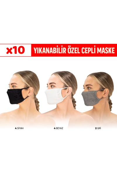 Superior Masqe 2 Katlı Cepli Yıkanabilir Antibakteriyel Maske 10 Adet 4 Siyah & 4 Beyaz & 2 Gri