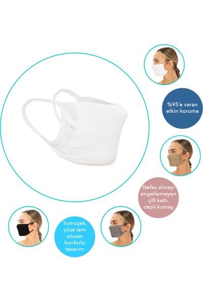 Superior Masqe 2 Katlı Cepli Yıkanabilir Antibakteriyel Maske 50 Adet Beyaz