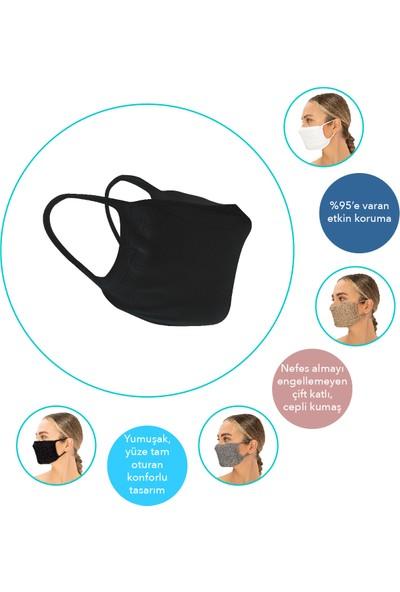 Superior Masqe 2 Katlı Cepli Yıkanabilir Antibakteriyel Maske 50 Adet Siyah