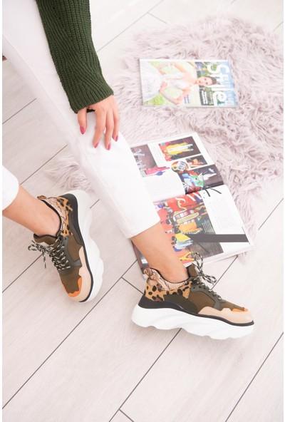 Limoya Nova Haki Bej Oranj Süet Leopar Ve Yılan Detaylı Kalın Tabanlı Sneakers