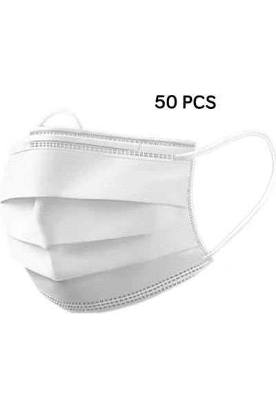 Atos Meltblown Düz ve Esnek Lastik Beyaz Burun Telli Ultrasonik 3 Katlı Maske 50 Adet