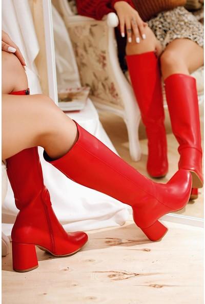 Limoya Savanna Kırmızı Kısa Topuklu Dizaltı Fermuarlı Çizme