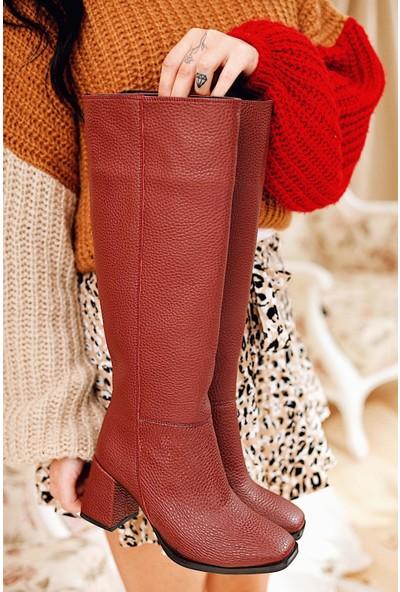 Limoya Avery Bordo Topuklu Dizaltı Çekme Çizme