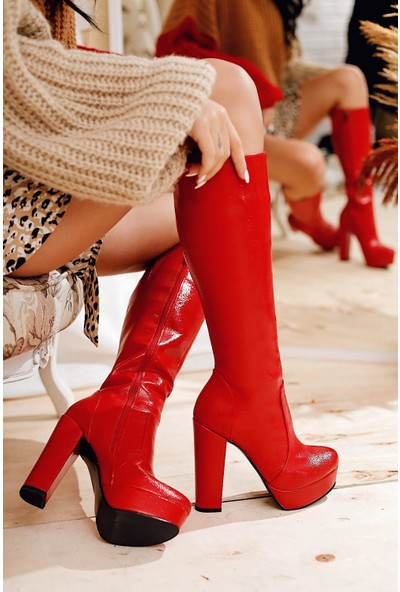 Limoya Kaley Kırmızı Deri Dizaltı Yüksek Topuklu Çizme