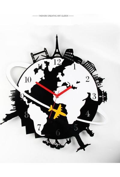 CUSTOM Pleksi Dünya Duvar Saati 58X65CM