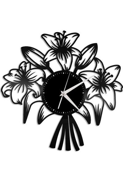 CUSTOM Pleksi Çiçekli Duvar Saati 45X50