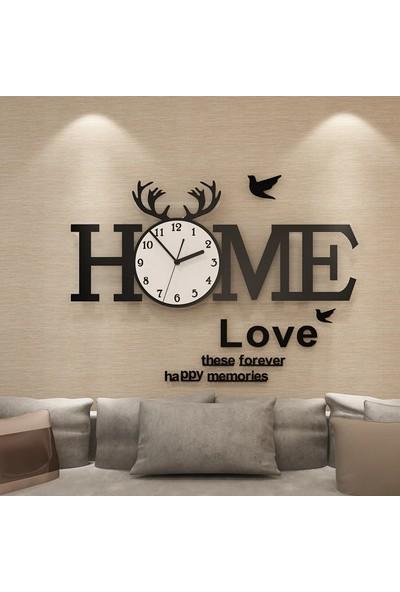 CUSTOM Pleksi Home Yazılı Duvar Saati 120X88