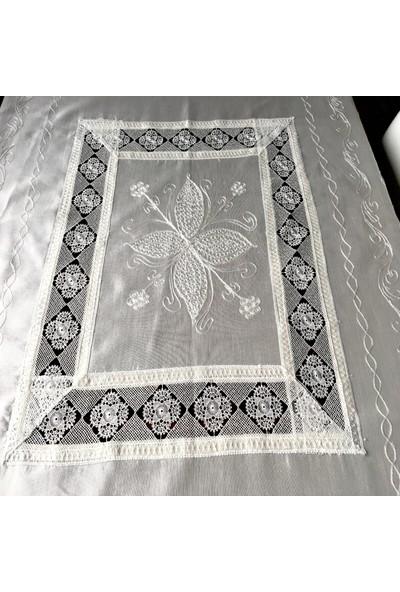 Yavuz Tekstil Çeyizlik Ipek Dokuma Iğne Oyalı Masa Örtüsü 140 x 180 Cm.