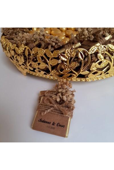 Chokaranj Isme Özel Tepsili Kız Isteme Çikolatası Gold