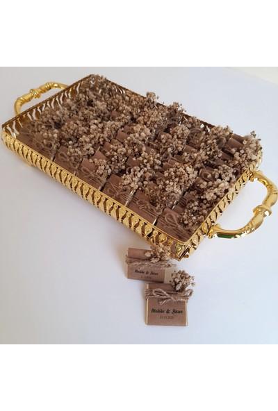 Chokaranj Gold Kişiye Özel Tepsili Kız Isteme Çikolatası - Kuru Çiçek Süslemeli