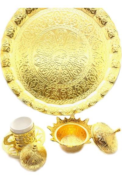 Life Çarşı Osmanlı Motifli Dekoratif Tepsili 6'lı Kahve Seti