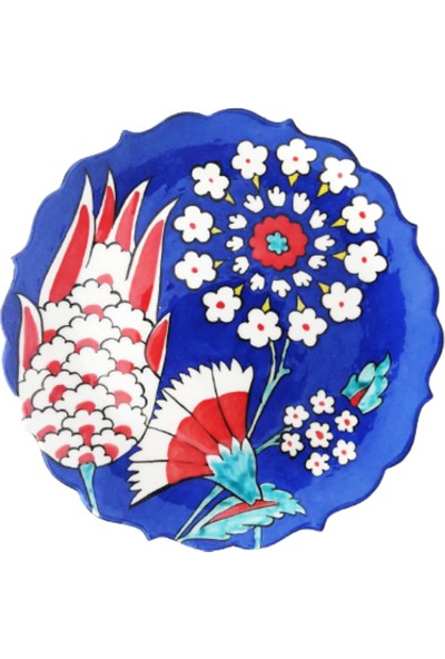 Tuluat Art Gallery Özel Tasarım, El Işleme, Meşhur Kütahya Çinisi, Ayaklı Sunum , 18 cm