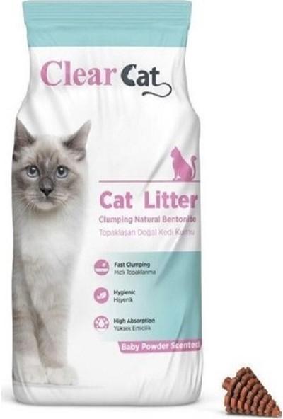 Clear Cat Bebek Pudralı Kokulu 5 kg Ince Taneli Bentonit Kedi Kumu