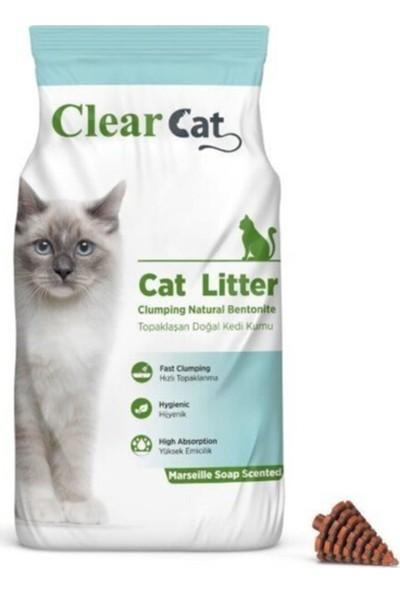 Clear Cat Marsilya Sabunu Kokulu 5 kg Ince Taneli Bentonit Kedi Kumu