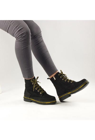 Marine Shoes Kadın Siyah Nubuk Deri Bot