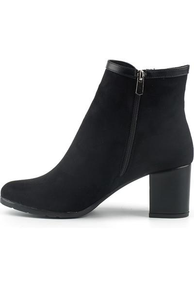 Marine Shoes Kadın Siyah Süet Suni Deri Bot