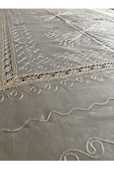 Yavuz Tekstil Çeyizlik Ipek Dokuma Dantelli Kare Masa Örtüsü
