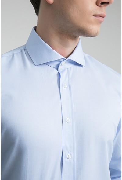 Ds Damat Slim Fit Mavi Çizgili Gömlek