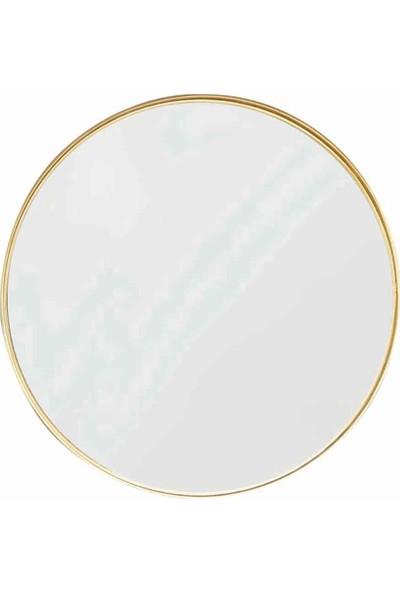 Otto Asu 70 cm Metalik Gold Ahşap Çerçeveli Dekoratif Ayna