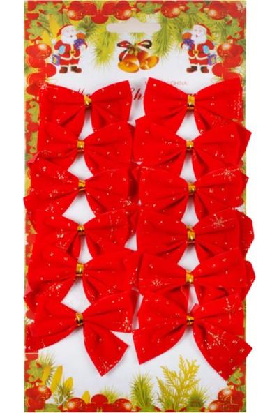 Yılbaşı Çam Ağacı Kırmızı Renk Fiyonk Kurdela Yılbaşı Süsü 5,5 cm 12 Adet