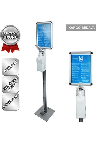 Metal Pedallı Dezenfektan Standı Alüminyum Kol Dirsek Basmalı