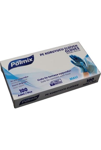 Polmix Pe Mavi Tek Kullanımlık Koruyucu Eldiven 100 Adet