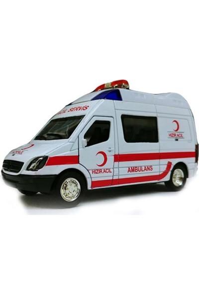 Liggo Metal Araba Ambulans Sesli Işıklı Çek Bırak Araba