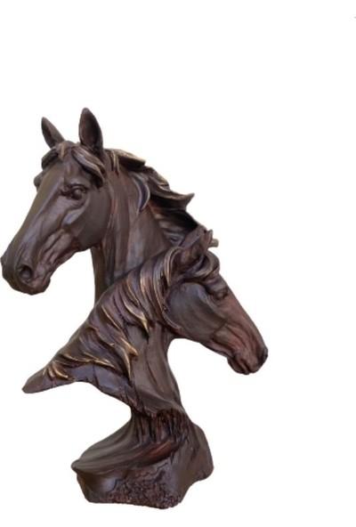 Orenc Craft Dekoratif Ikili At Başı Biblo