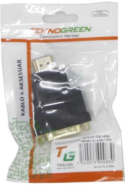 Teknogreen TKD-555 24+5 DVI Dişi HDMI Erkek Konnek