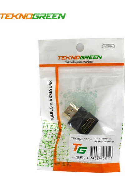 Teknogreen TKD-200 HDMI Erkek-Dişi 90º Konnektör