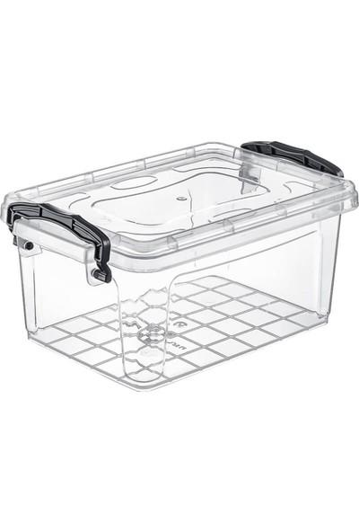 Hipaş Plastik - 1,75 Lt. Kapaklı Şeffaf Saklama Kabı ( 5 Adet )- HP-542-5