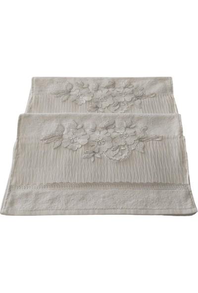 Ladya Kırık Beyaz Gül Tüllü Gelin Havlusu 2'li Paket