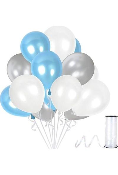 Kullanatparty Rafya Hediyeli 30 Adet Metalik Parti Balonu Gümüş - Beyaz- Bebek Mavisi