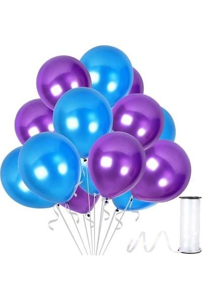 Kullanatparty Rafya Hediyeli 30 Adet Metalik Parti Balonu Mor - Koyu Mavi